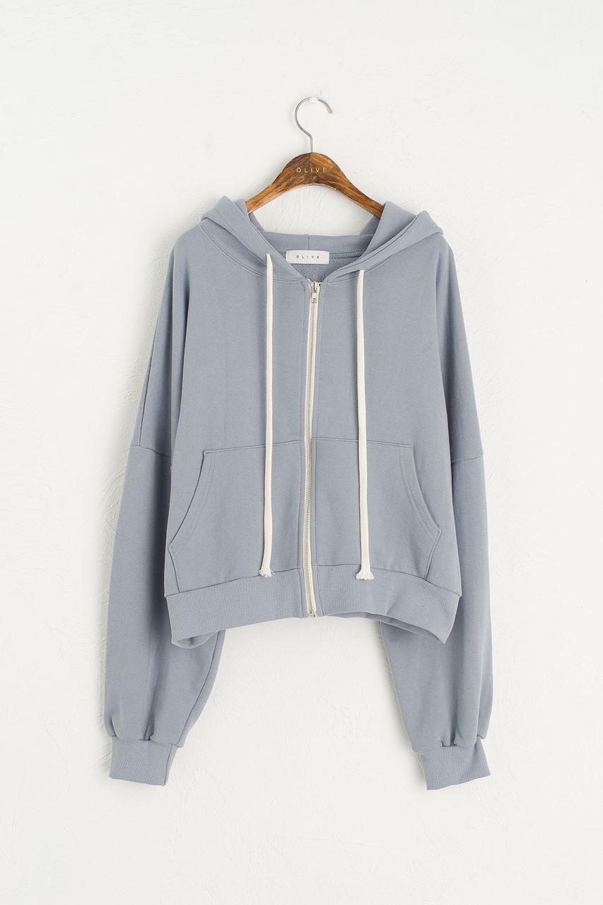 Zipped Hooded Sweatshirt, Blue