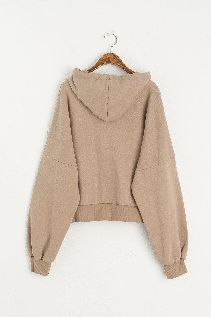 Zipped Hooded Sweatshirt, Sand
