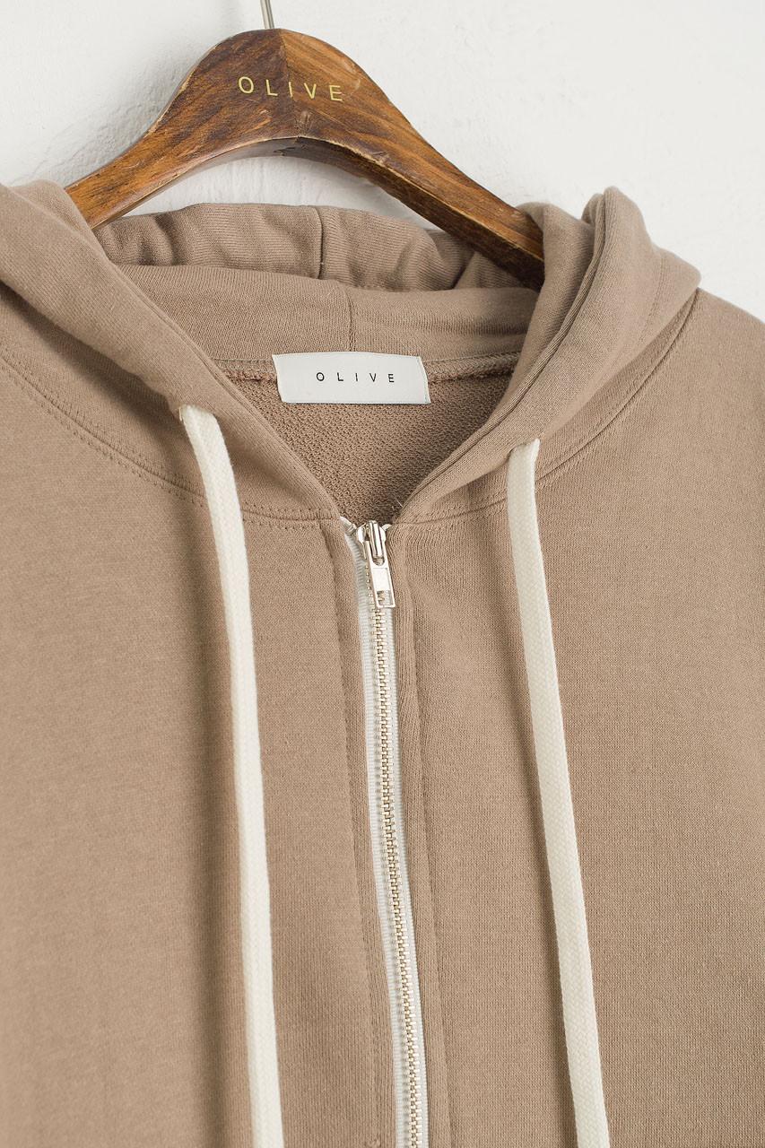 Zipped Hooded Sweatshirt, Sand