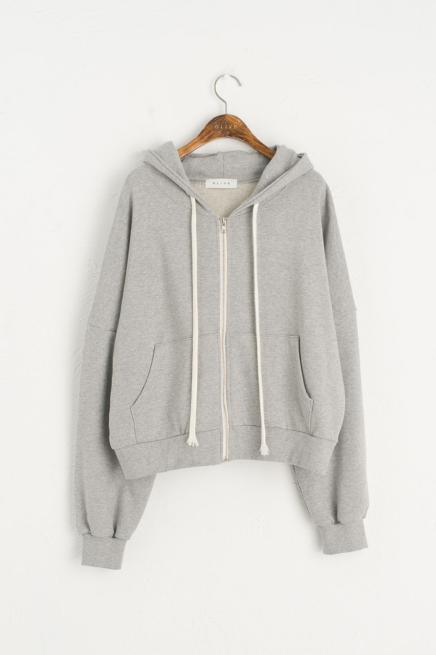 Zipped Hooded Sweatshirt, Grey