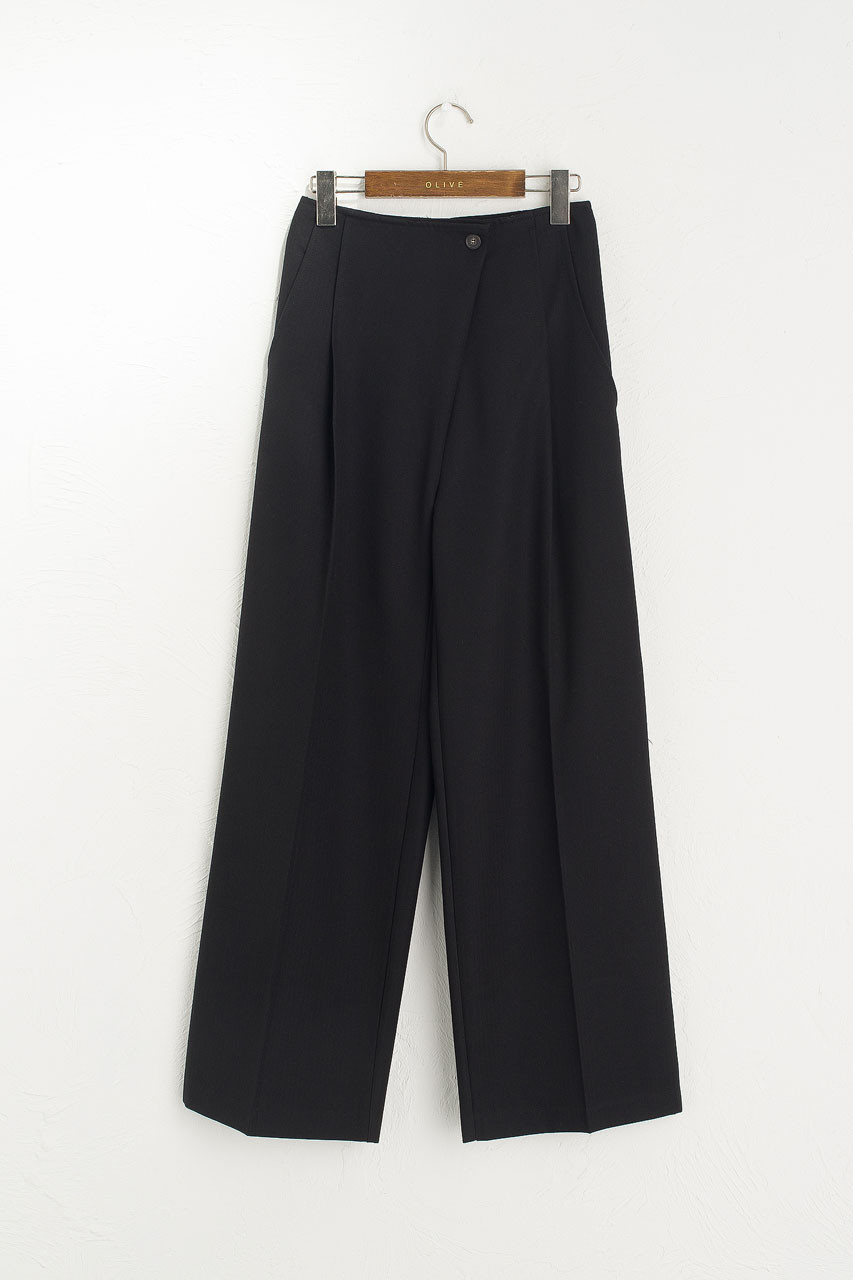 Asymmetrical Herringbone Trousers, Black