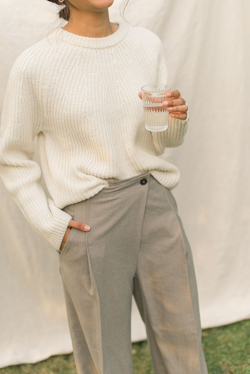 Asymmetrical Herringbone Trousers, Beige