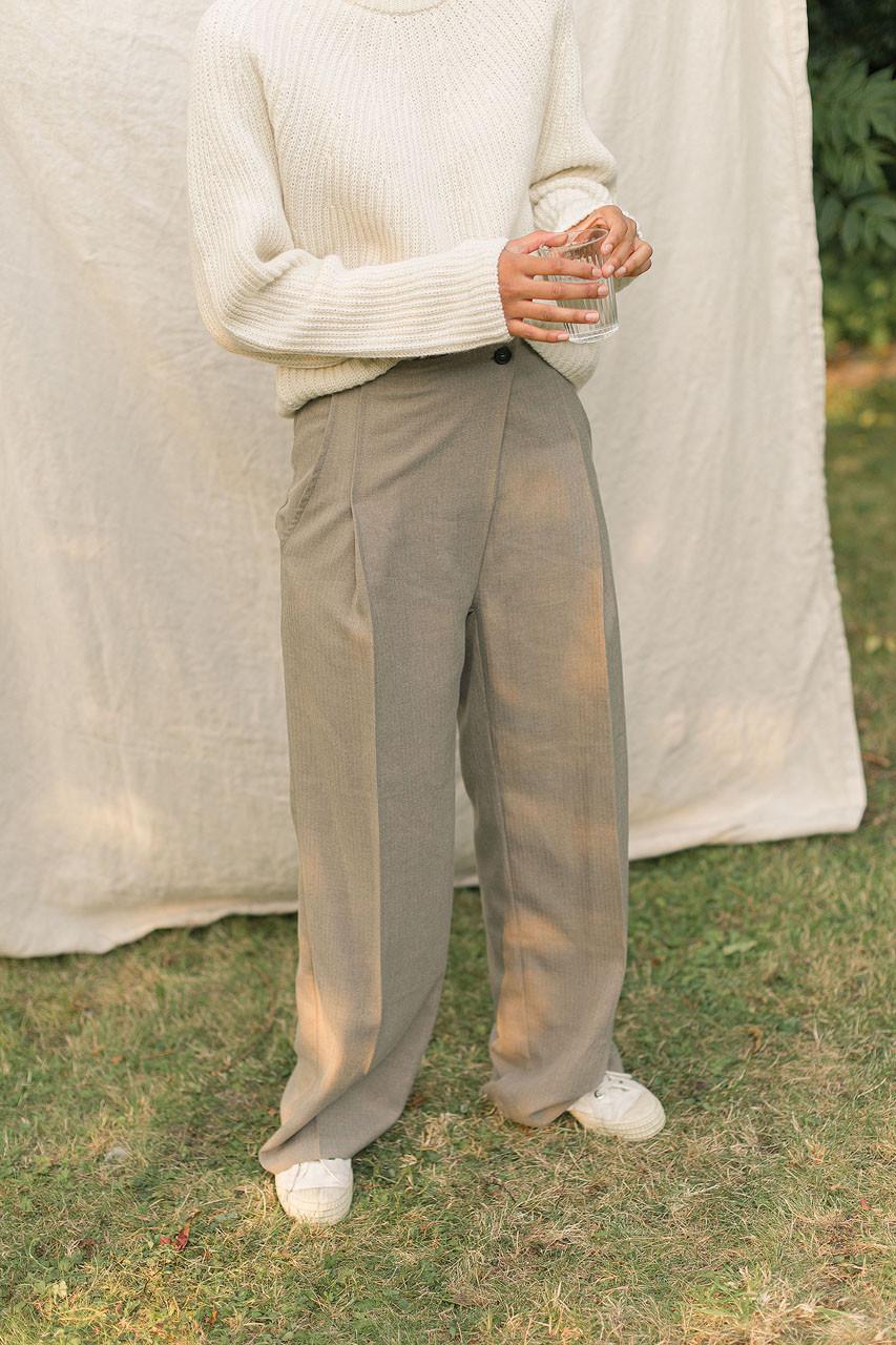 Asymmetrical Herringbone Trousers, Beige