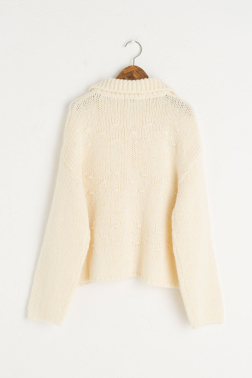 Collar Pompom Cardigan, Ivory
