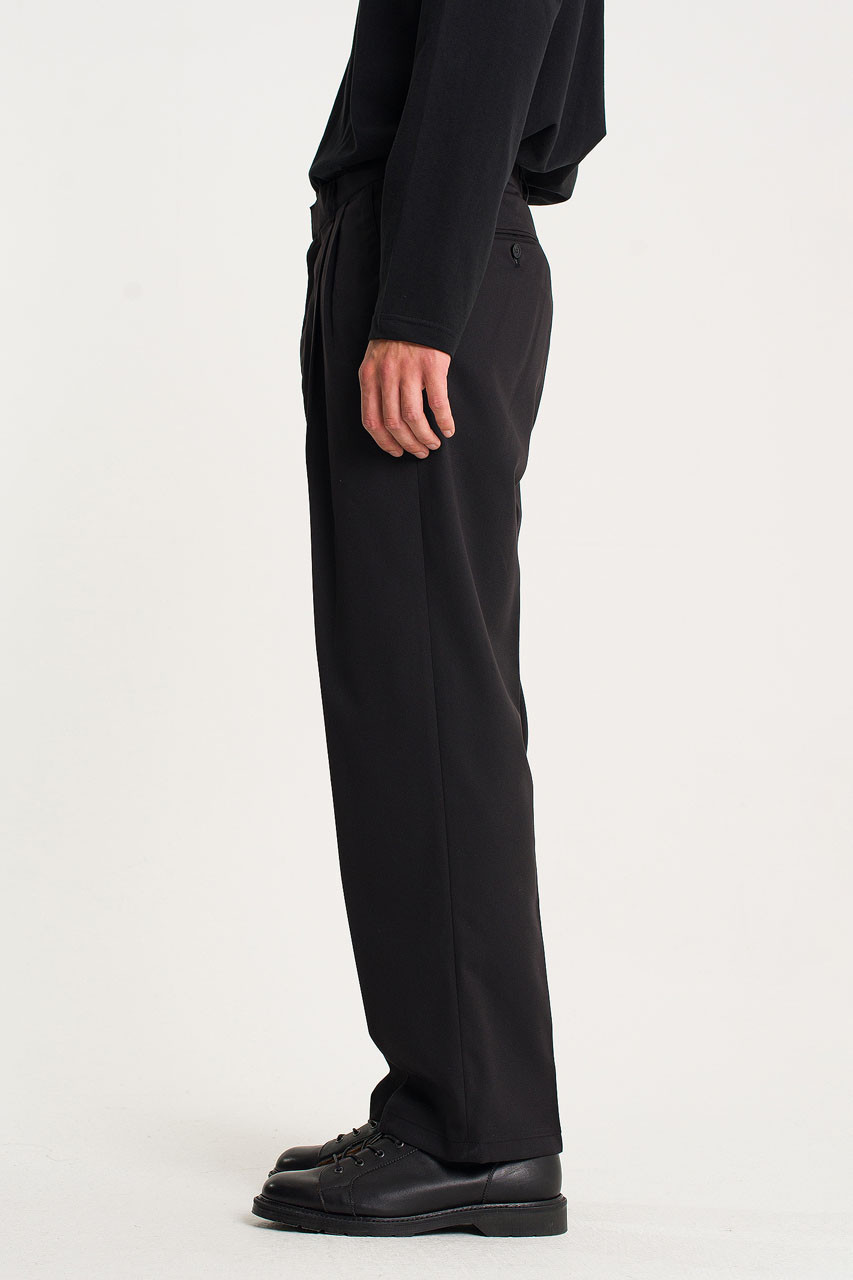 Menswear | Pintuck Wide Slacks, Black