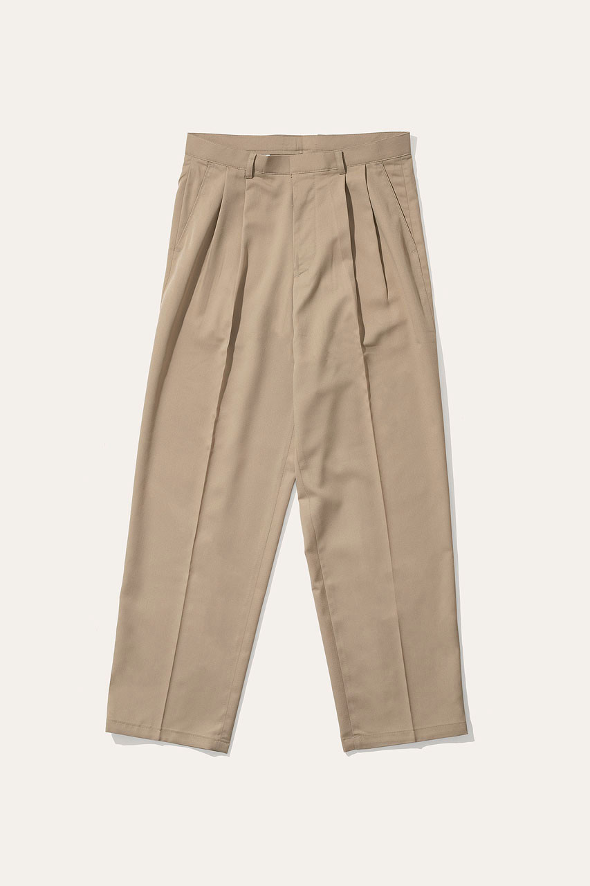Menswear | Pintuck Wide Slacks, Sand
