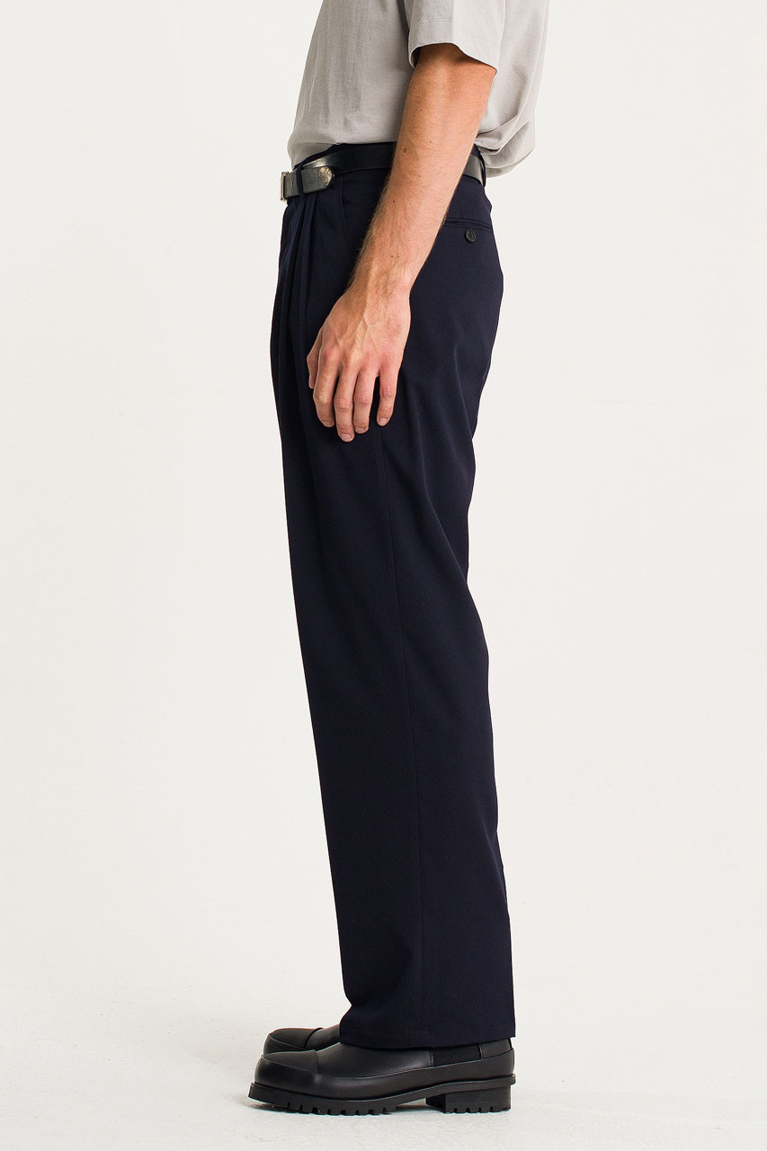 Menswear | Pintuck Wide Slacks, Navy