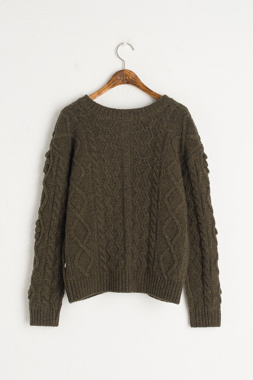 Two-Way Pompom Aran Cardigan, Moss
