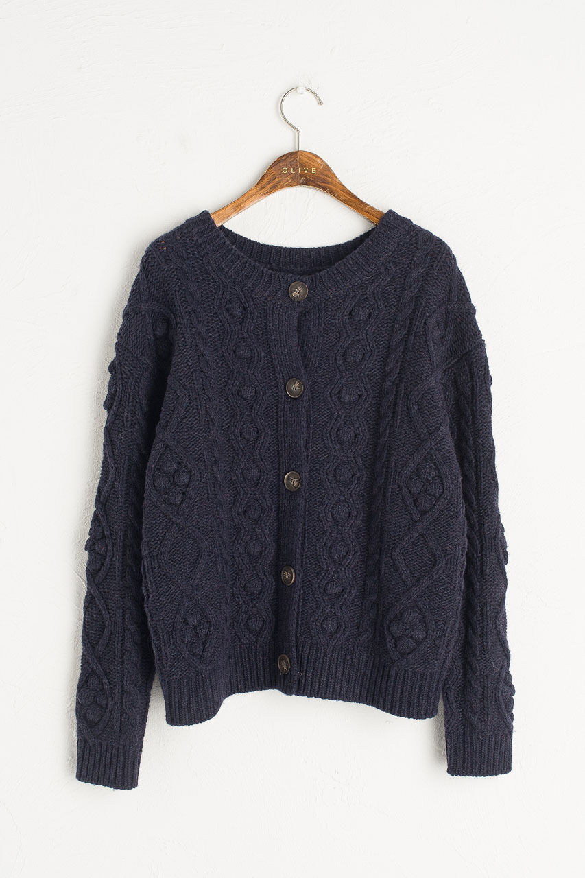 Two-Way Pompom Aran Cardigan, Navy