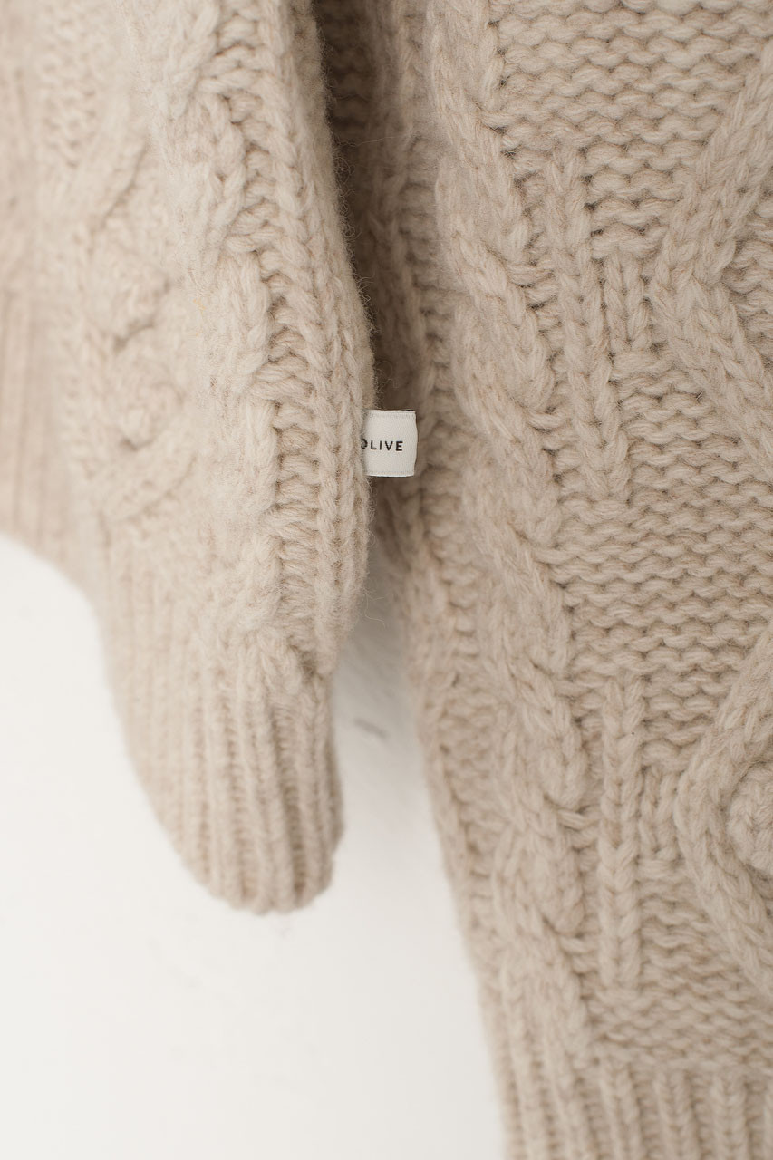 Two-Way Pompom Aran Cardigan, Oatmeal