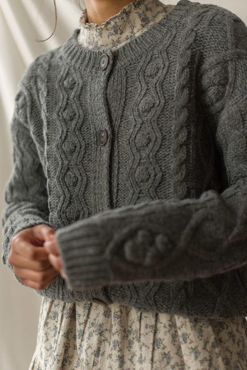 Two-Way Pompom Aran Cardigan, Grey Melange