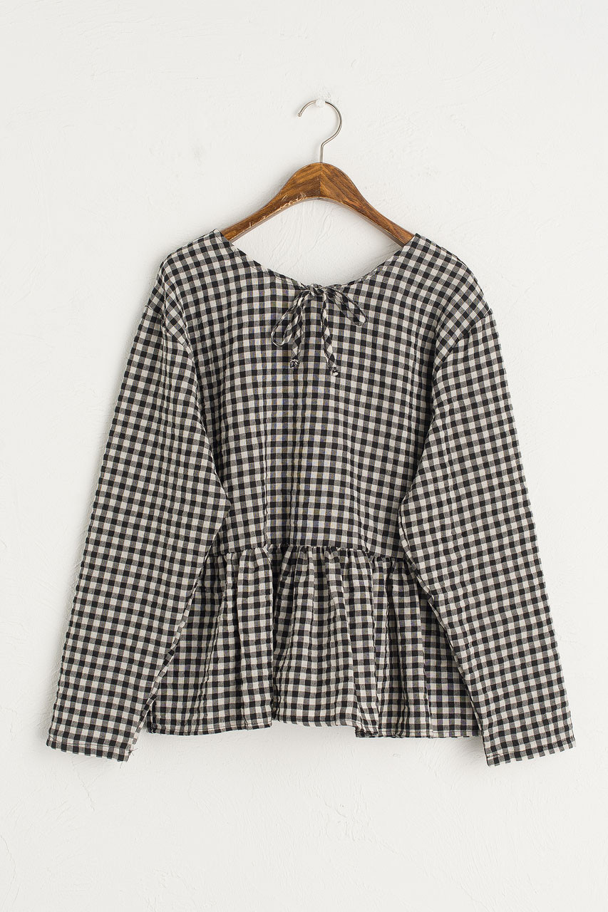 Gingham Peplum Blouse, Black