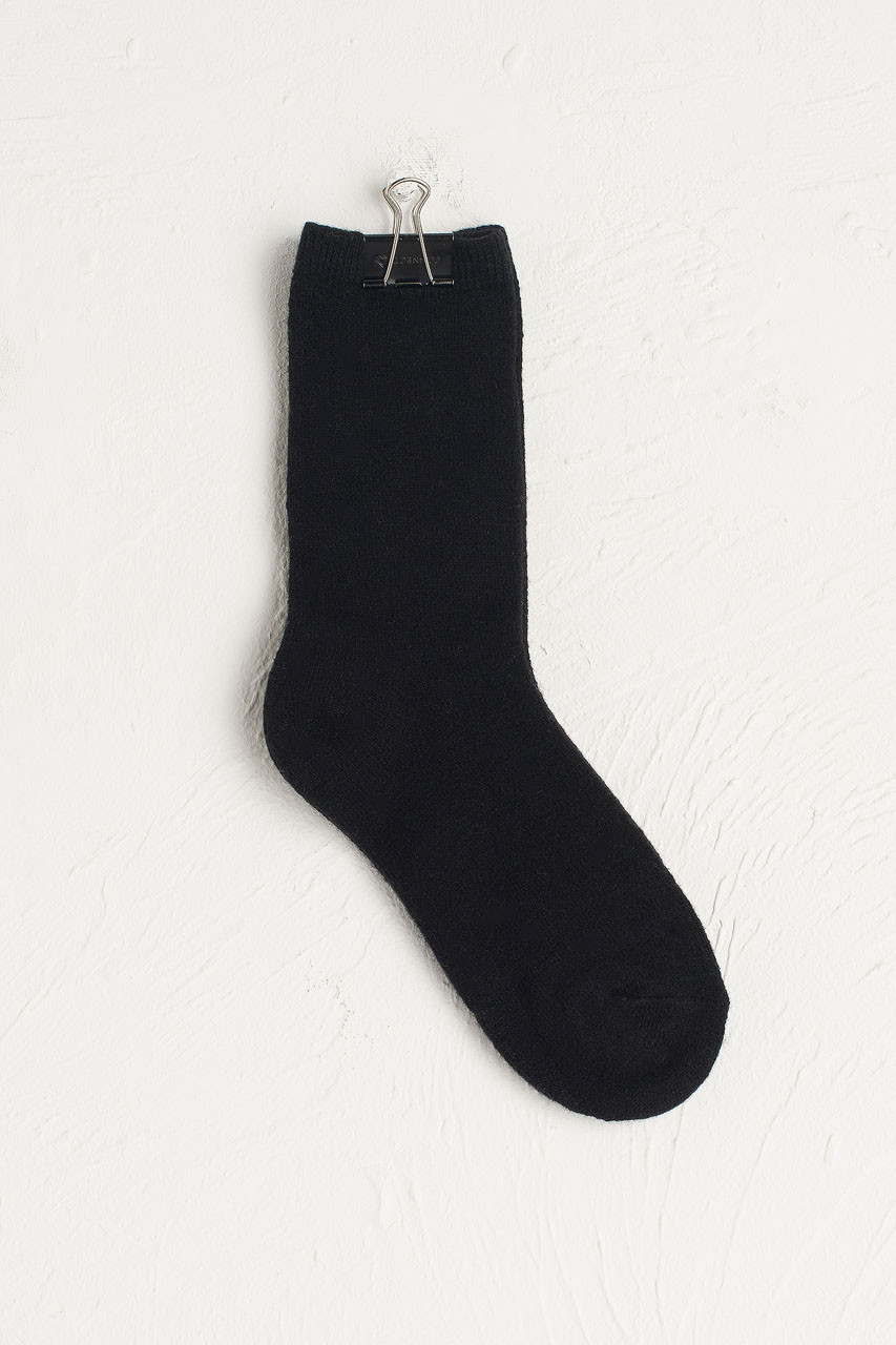 Wool Blend Chunky Socks, Black