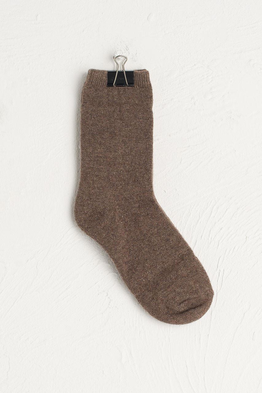 Wool Blend Chunky Socks, Mocha