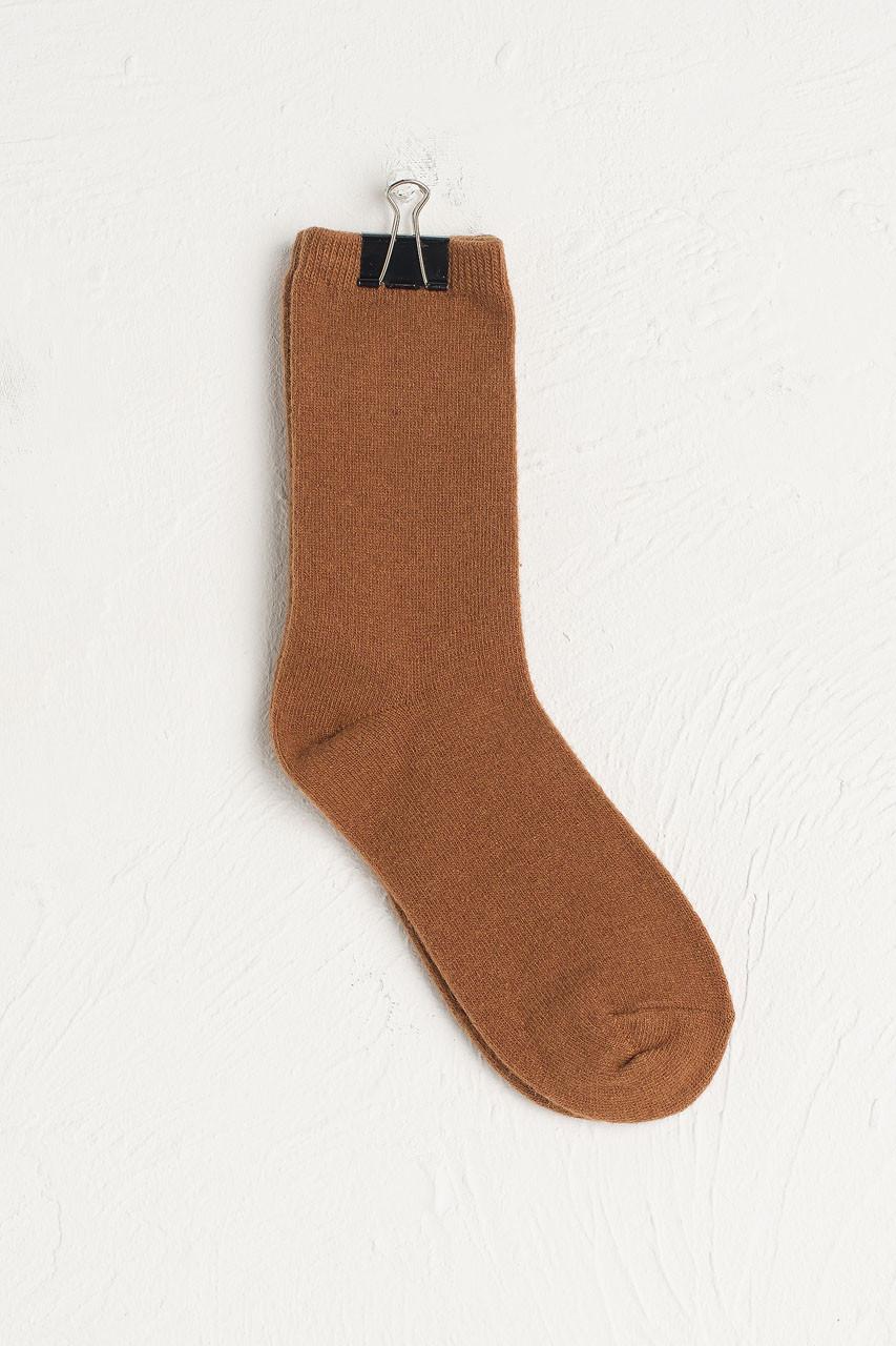 Wool Blend Chunky Socks, Camel