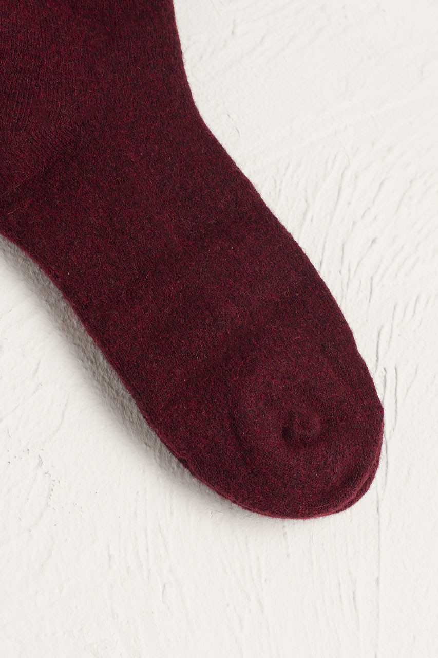 Wool Blend Chunky Socks, Burgundy