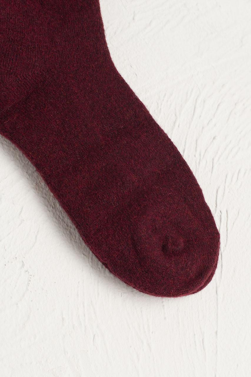 Wool Blend Chunky Socks, Burgundy