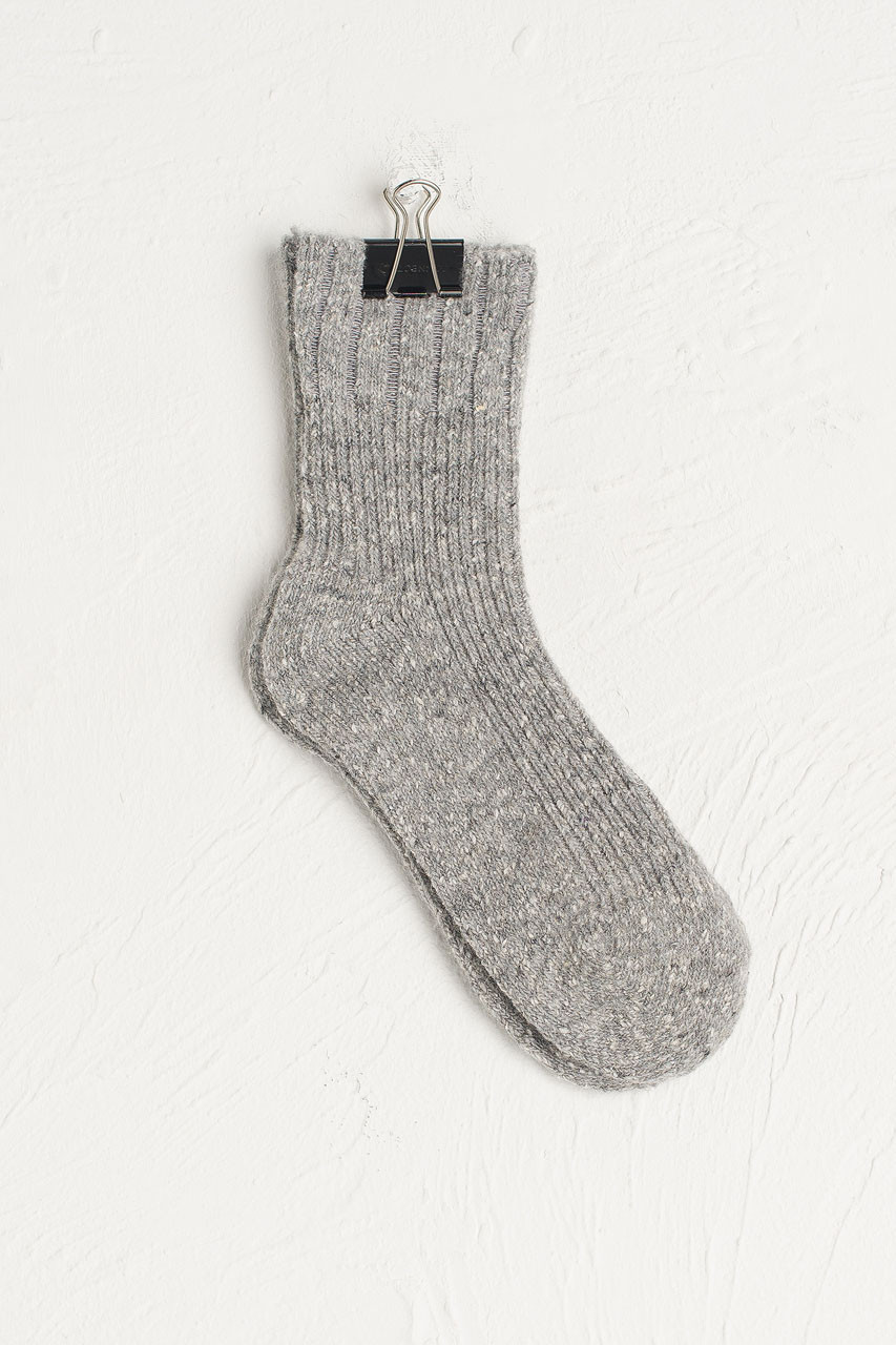 Flecked Boucle Socks, Grey