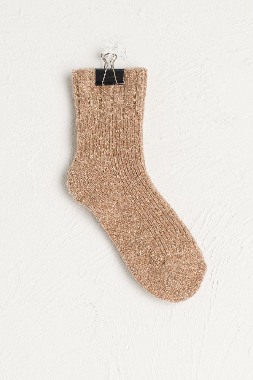 Flecked Boucle Socks, Beige