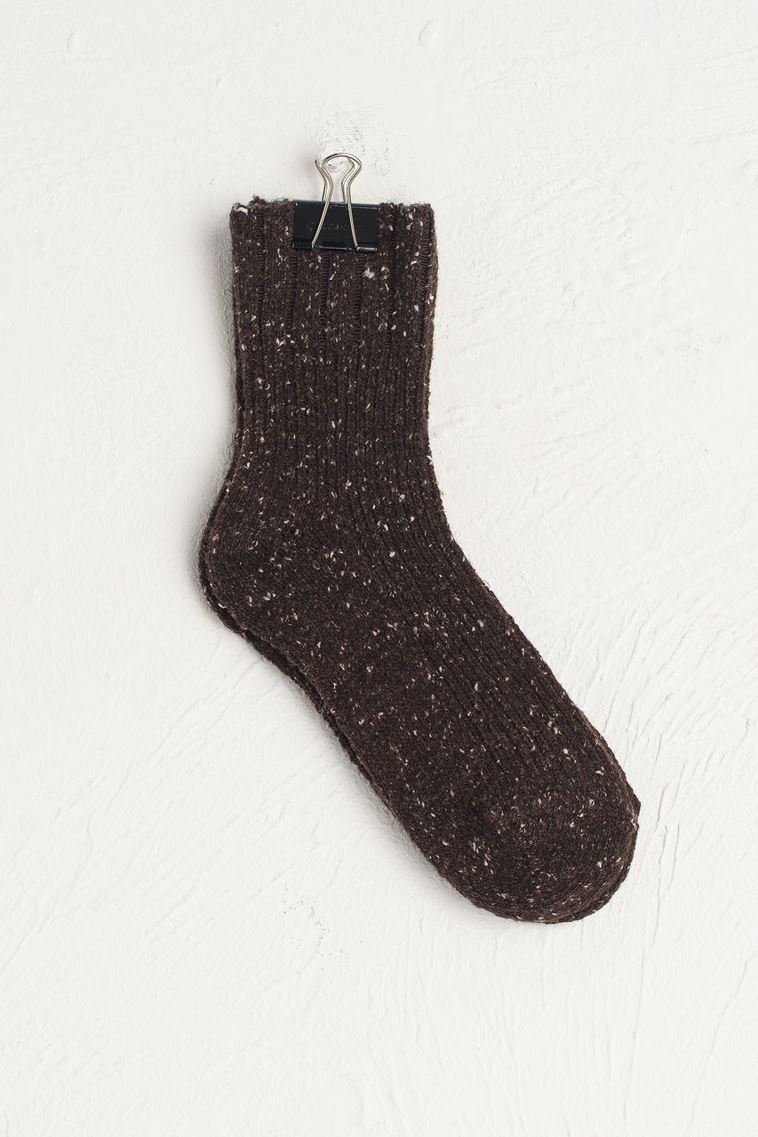 Flecked Boucle Socks, Brown