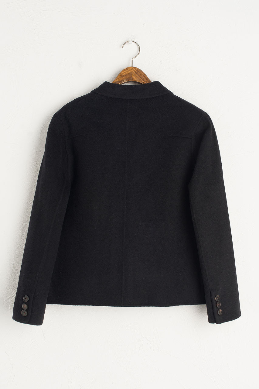 Cropped Double Breasted Jacket, Black