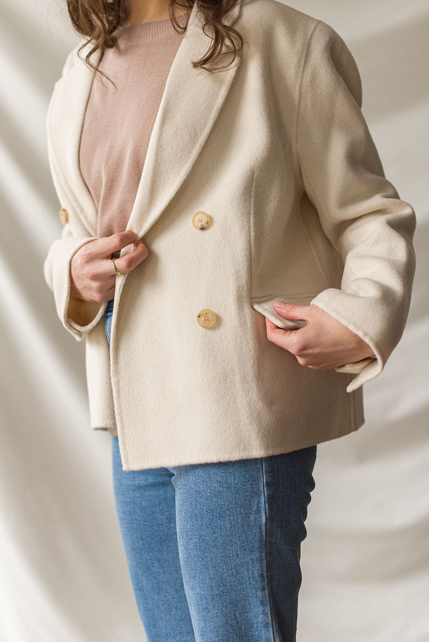 Cropped Double Breasted Jacket, Ivory