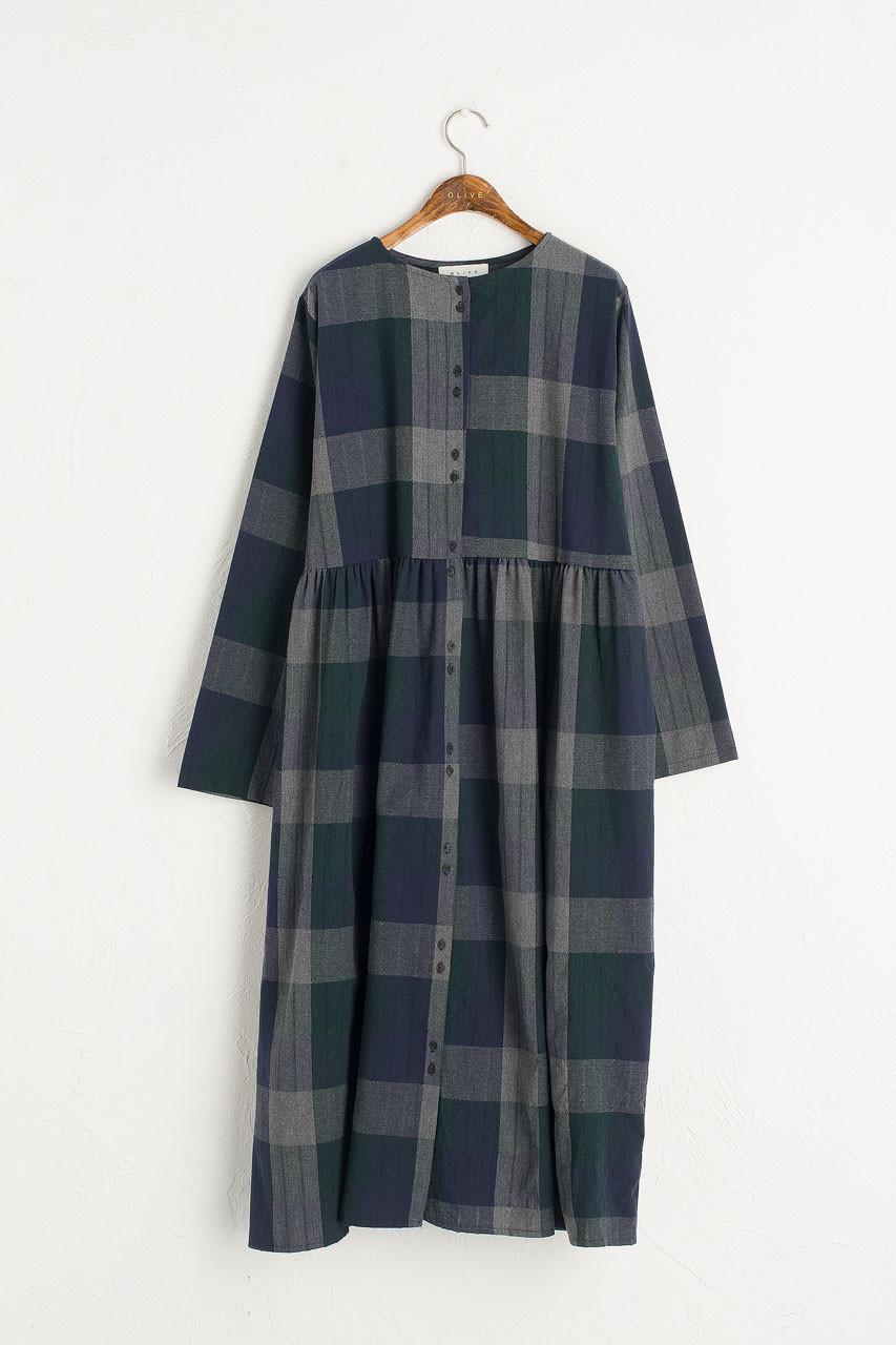 Rachael Check Dress, Navy