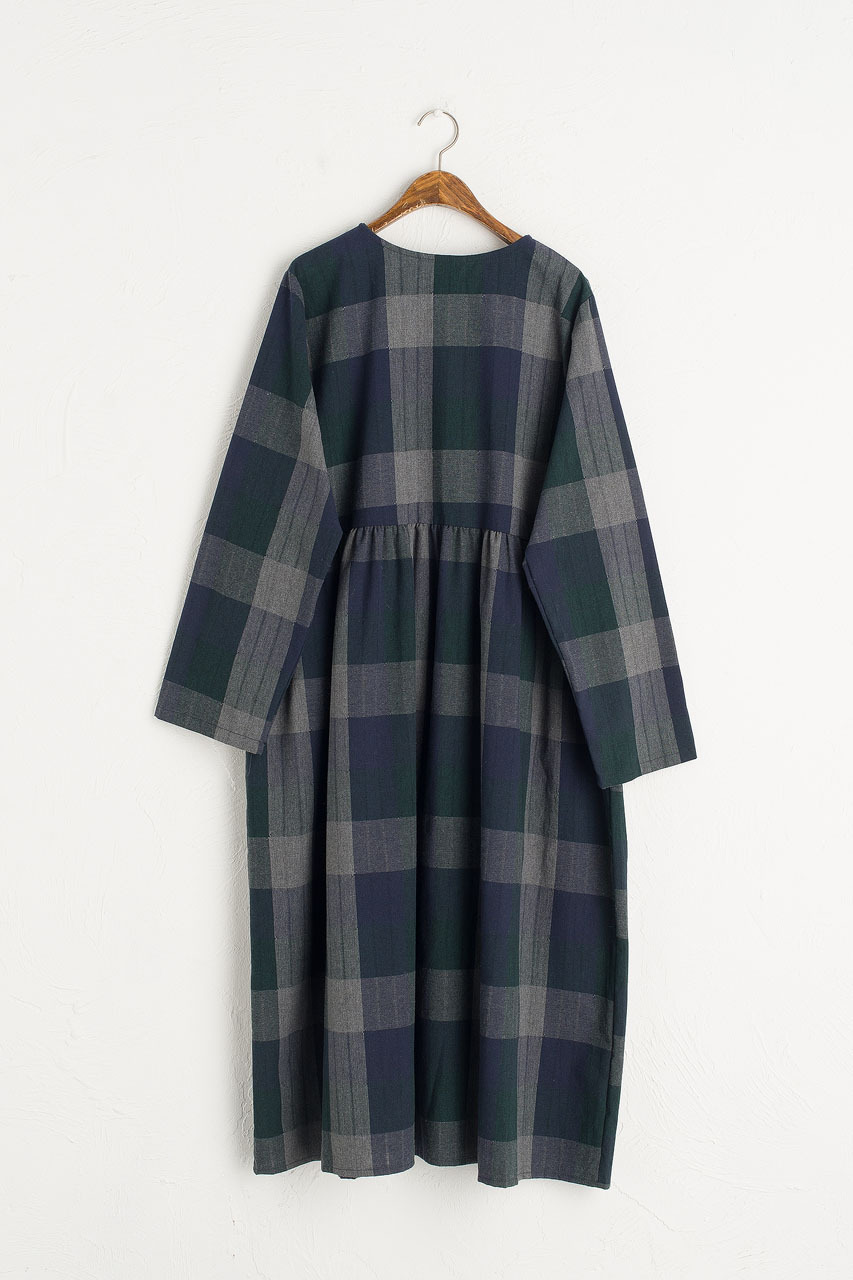 Rachael Check Dress, Navy