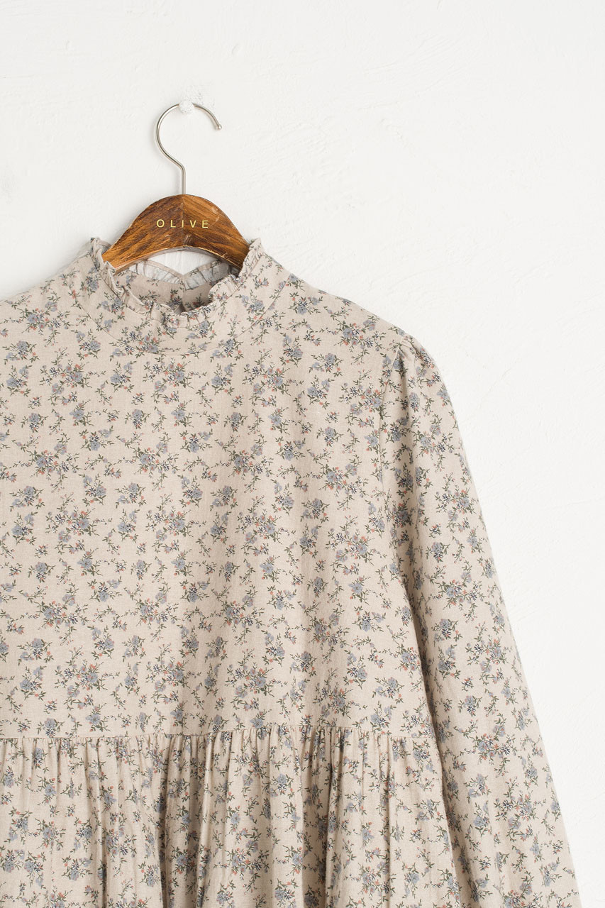 Brushed Cotton Blossom Dress, Ivory