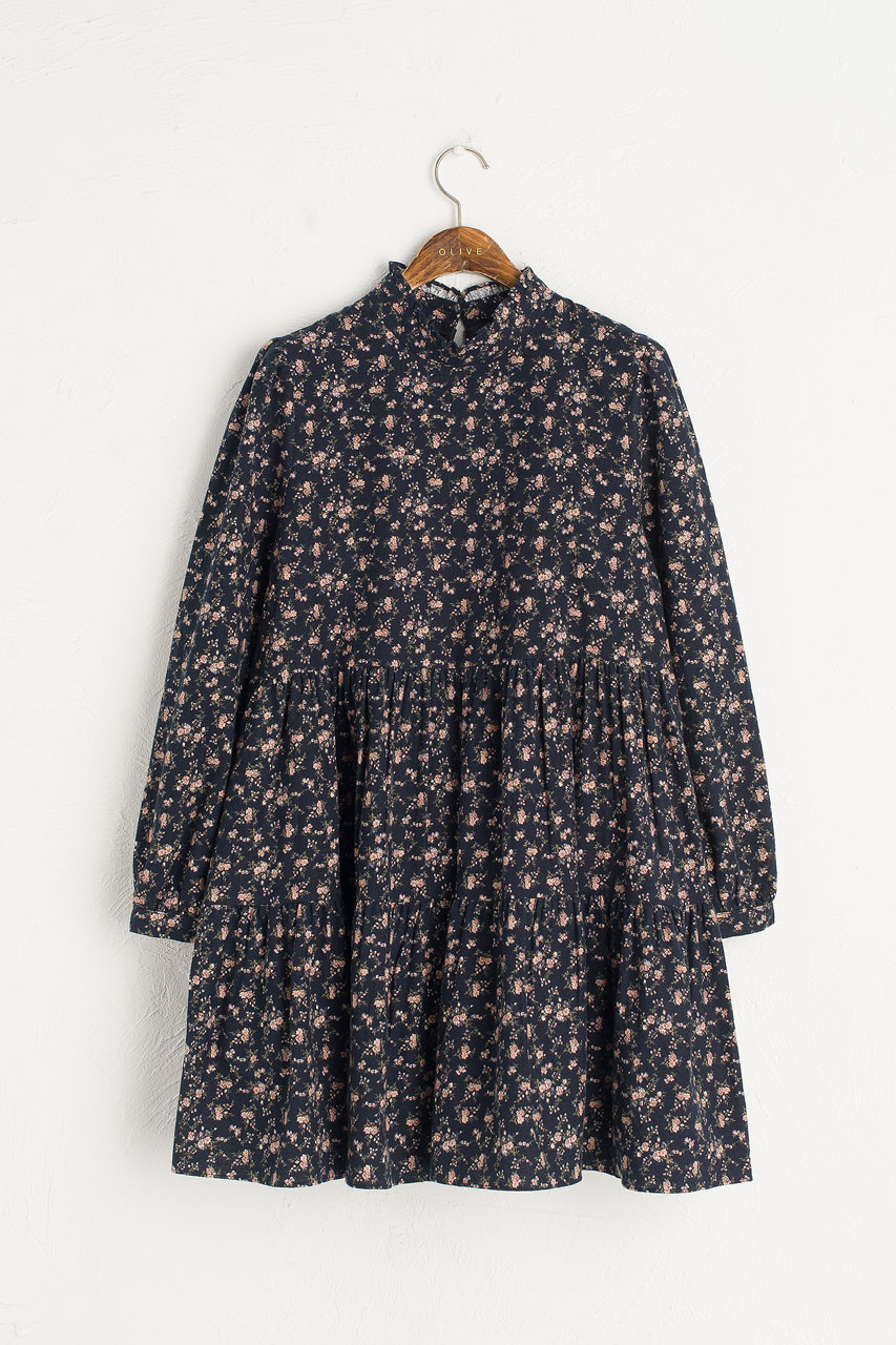 Brushed Cotton Blossom Dress, Navy