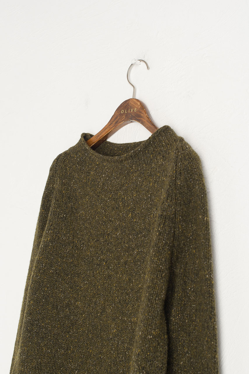 Flecked Fisherman Knit, Green