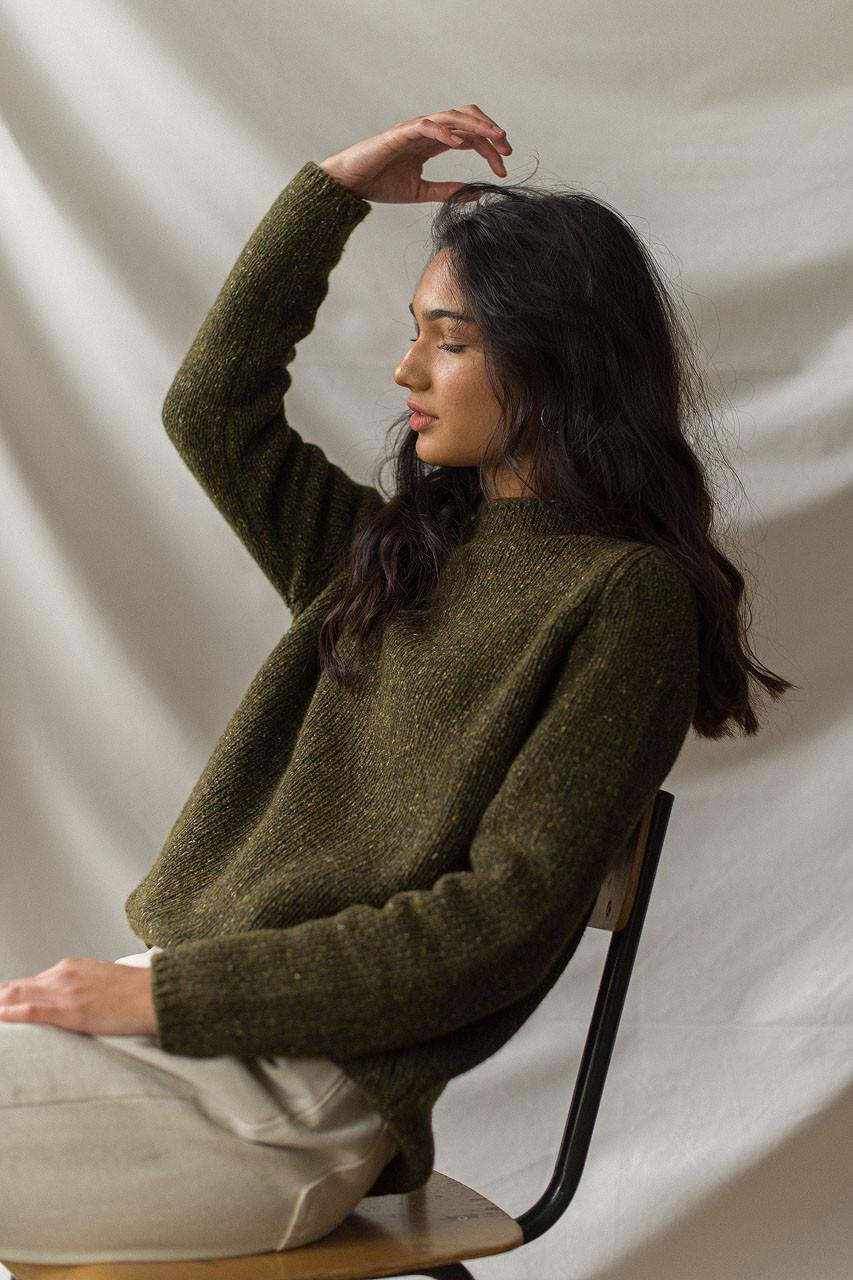 Flecked Fisherman Knit, Green
