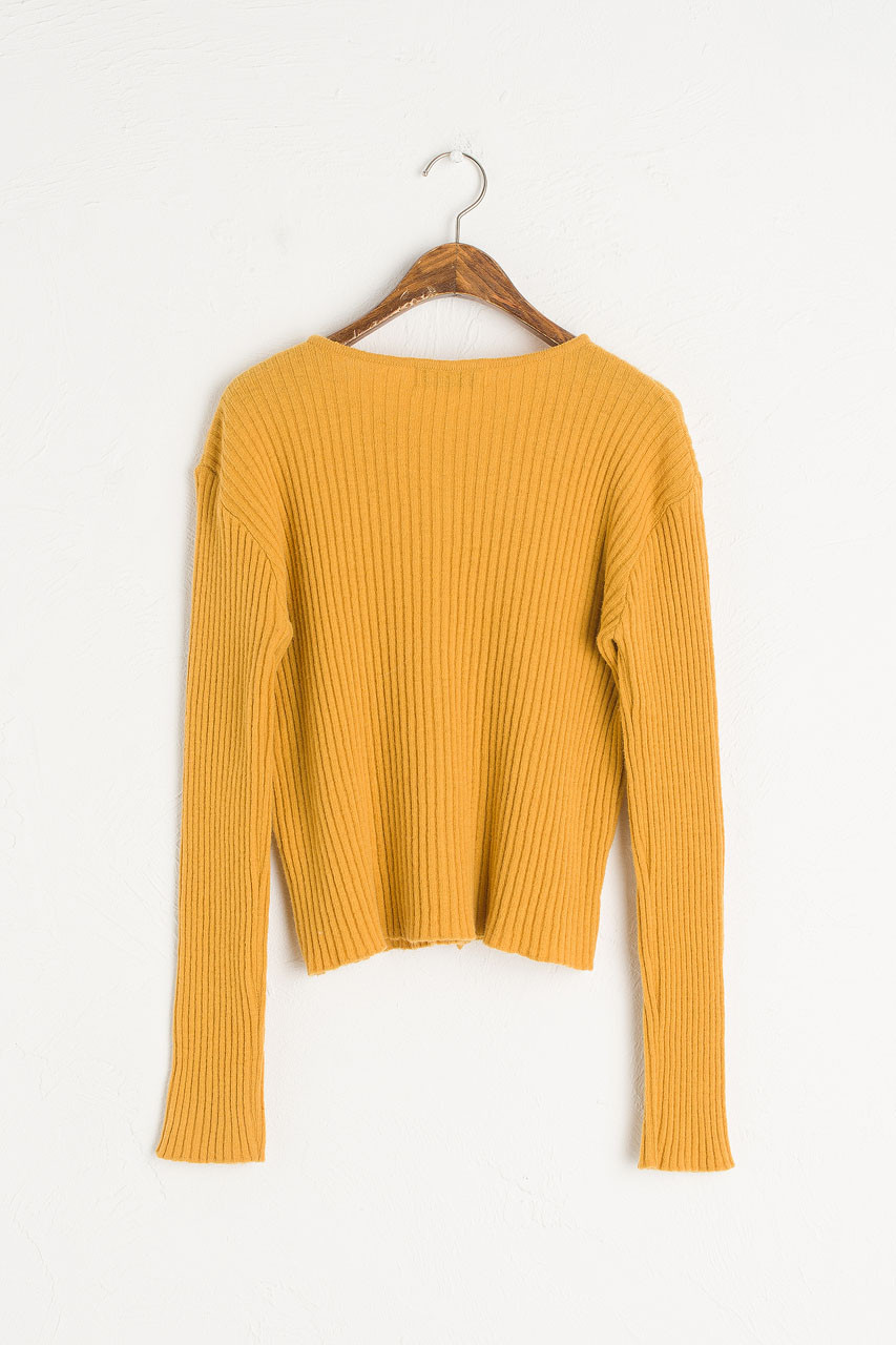 Leah Ribbed Cardigan, Clementine