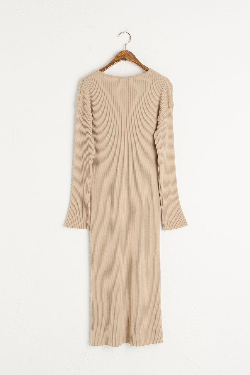 Tomo Ribbed Knit Dress, Beige