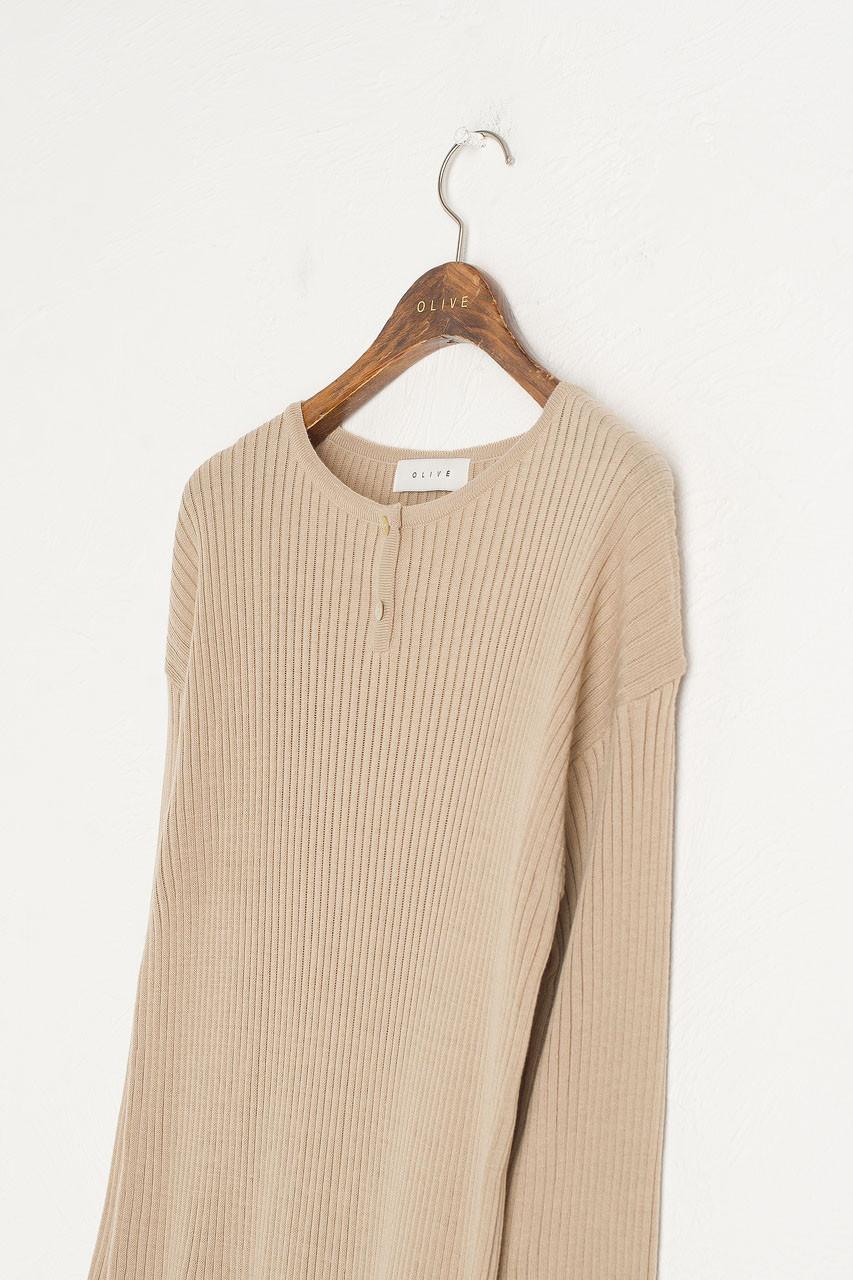 Tomo Ribbed Knit Dress, Beige