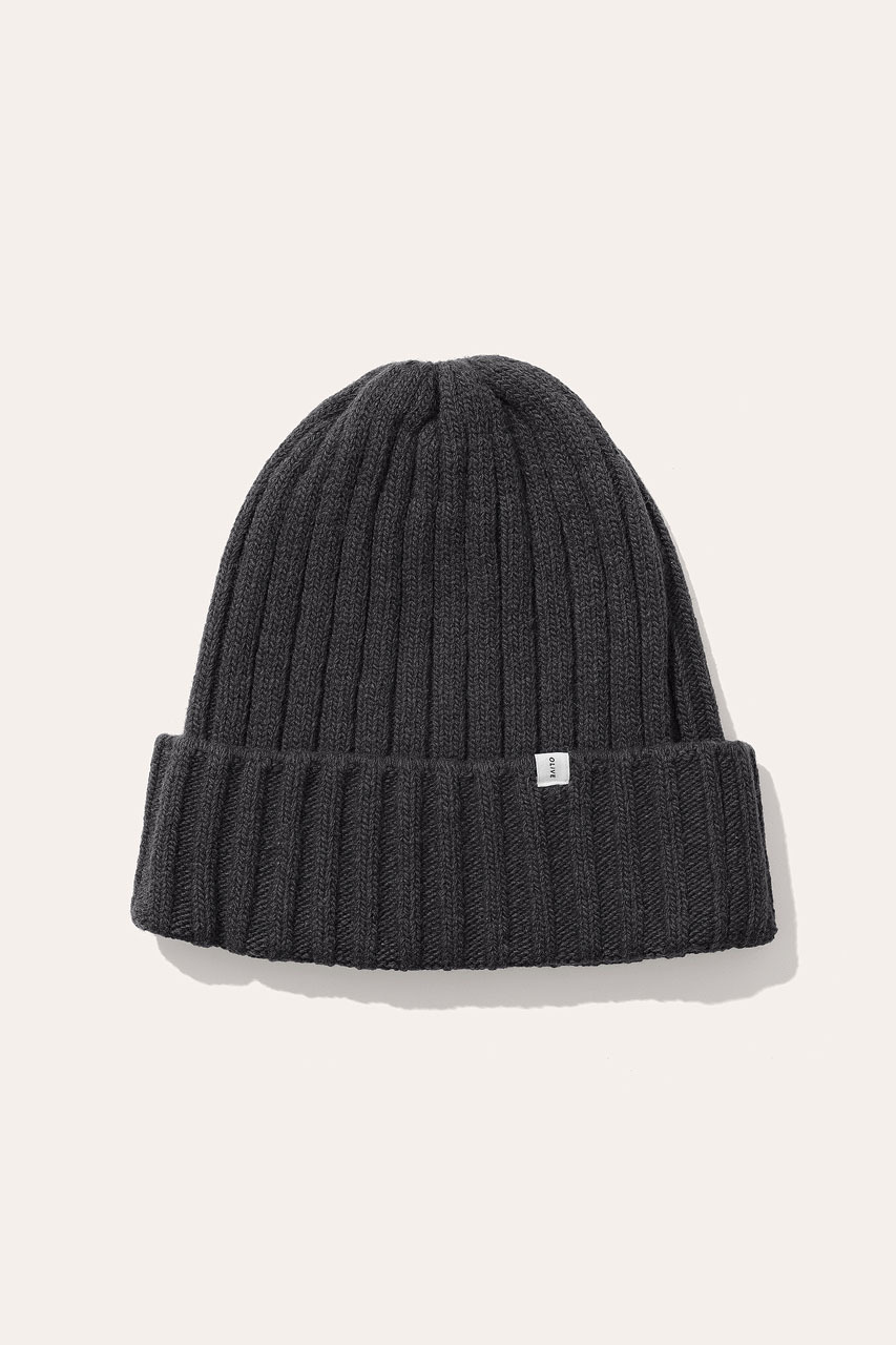 Menswear | Ribbed Wool Beanie, Charcoal