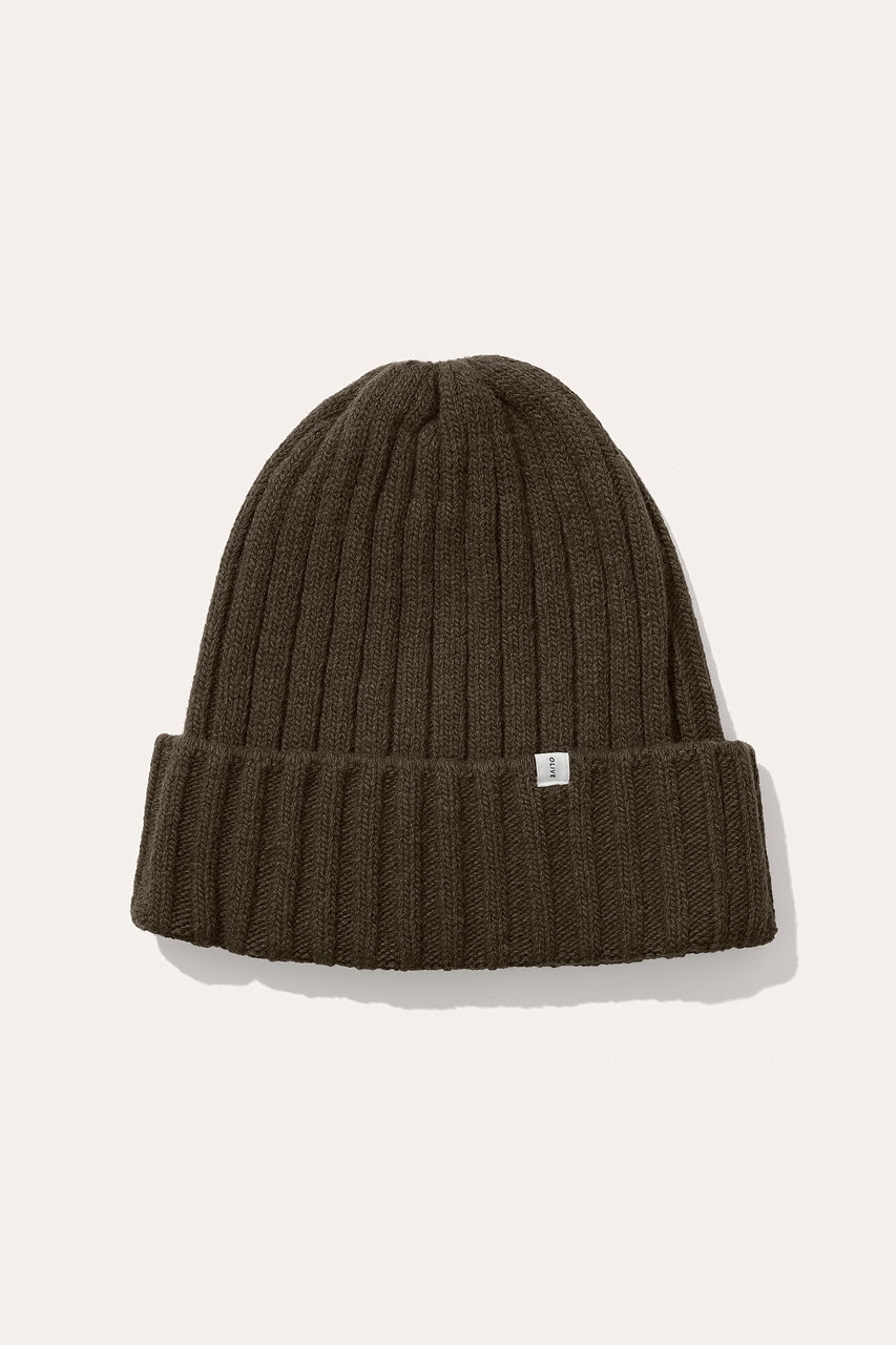 Menswear | Ribbed Wool Beanie, Khaki
