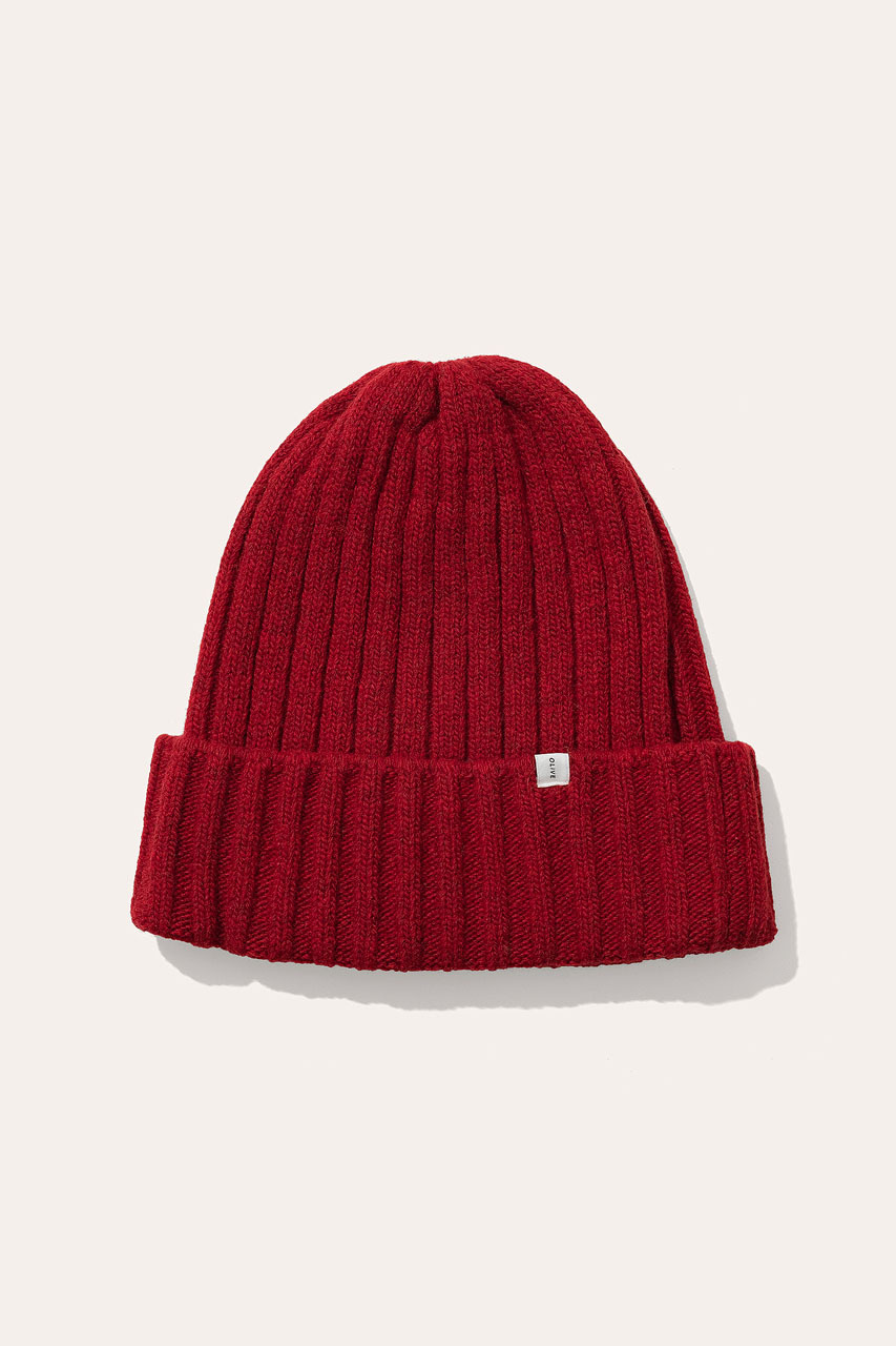 Menswear | Ribbed Wool Beanie, Red