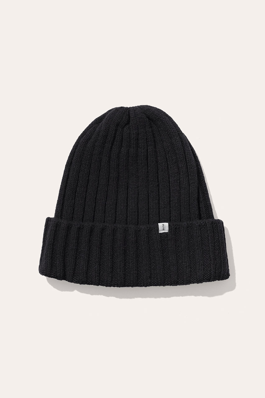Menswear | Ribbed Wool Beanie, Black