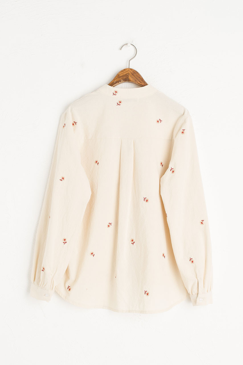 Mandarin Collar Daisy Shirt, Ivory