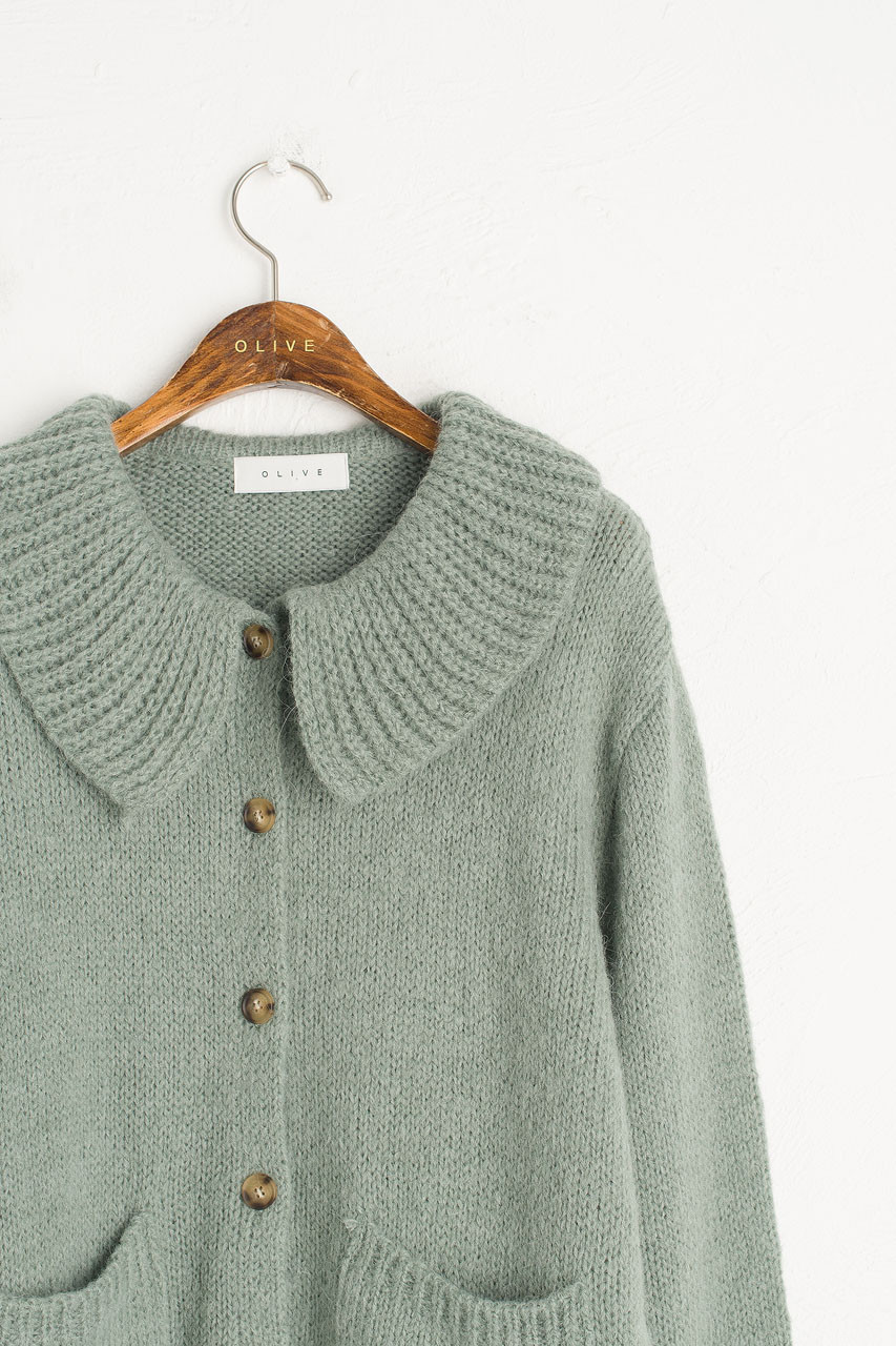 Big Collar Soft Cardigan, Mint
