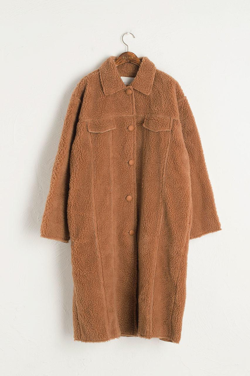 Twin Pocket Teddy Coat, Camel