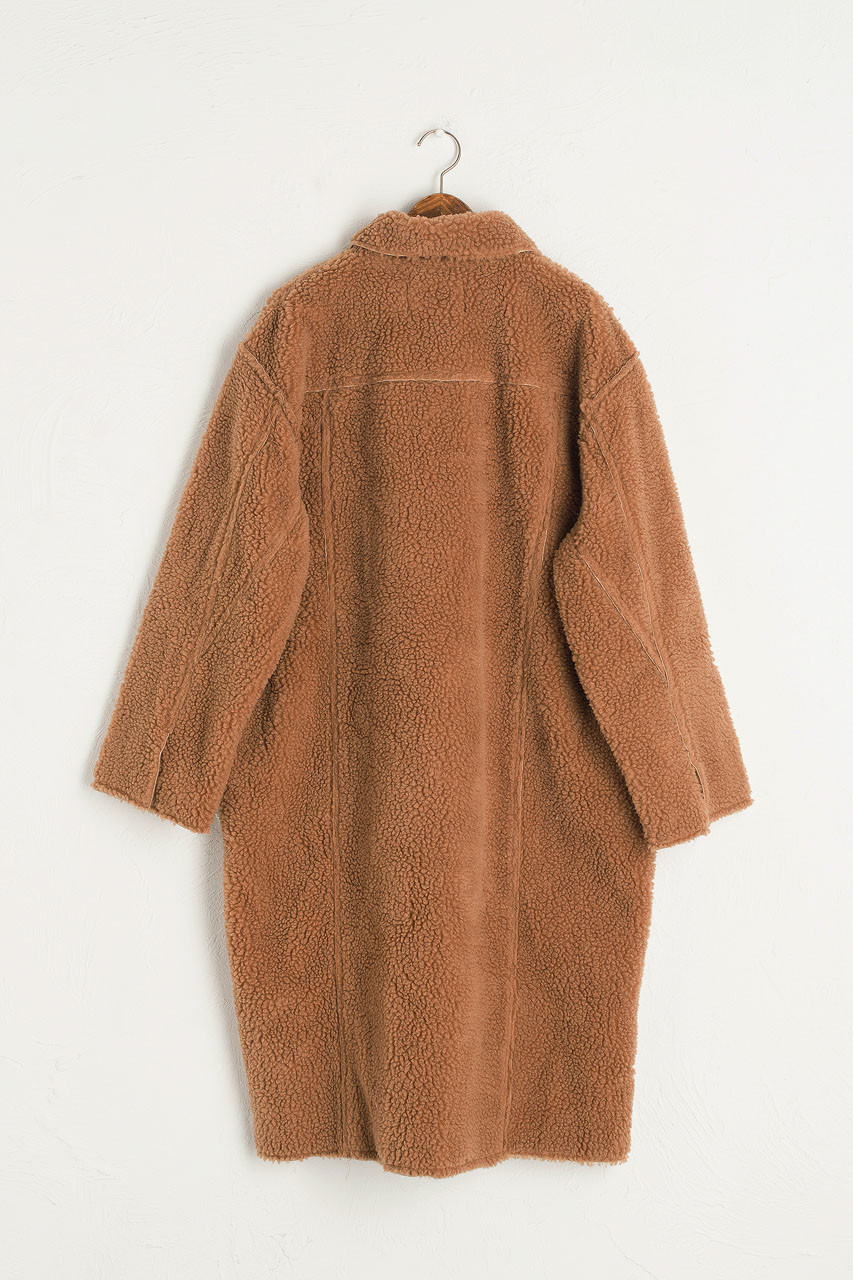 Twin Pocket Teddy Coat, Camel