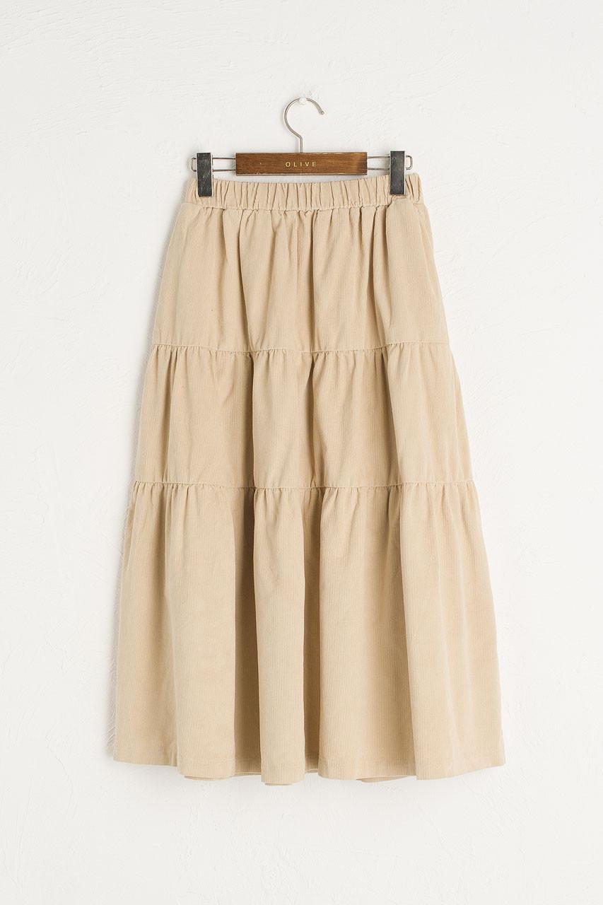 Meard Cord Skirt, Cream