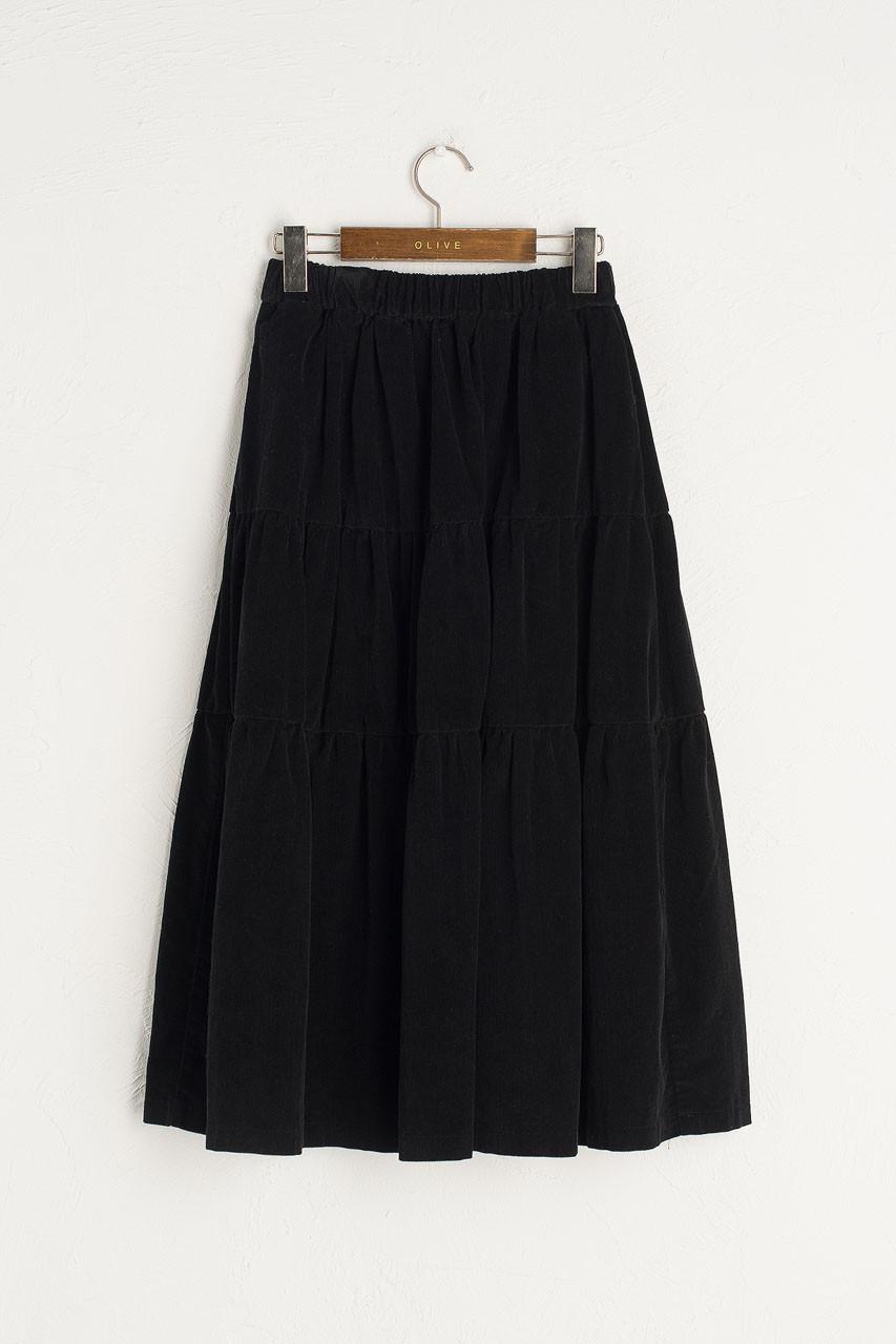 Meard Cord Skirt, Black