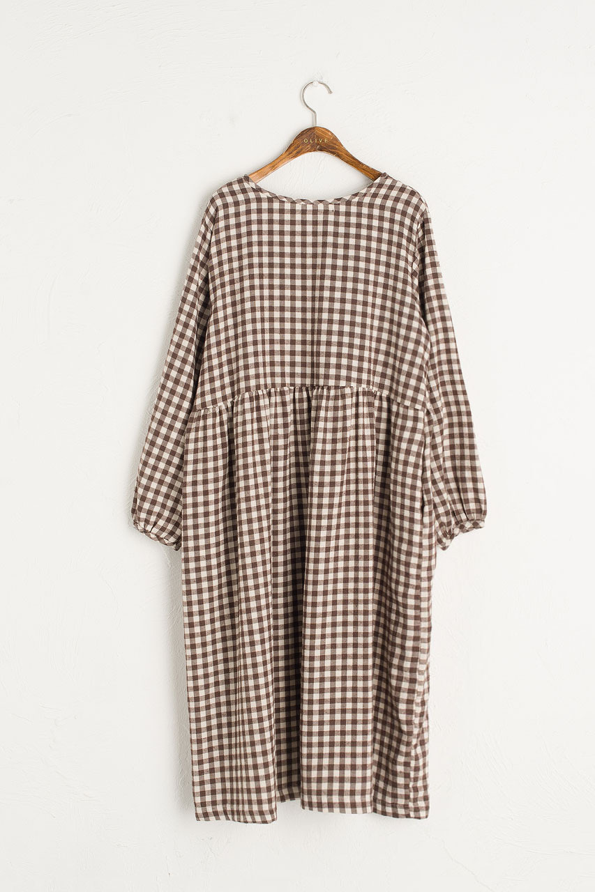 Noa Gingham Dress, Brown