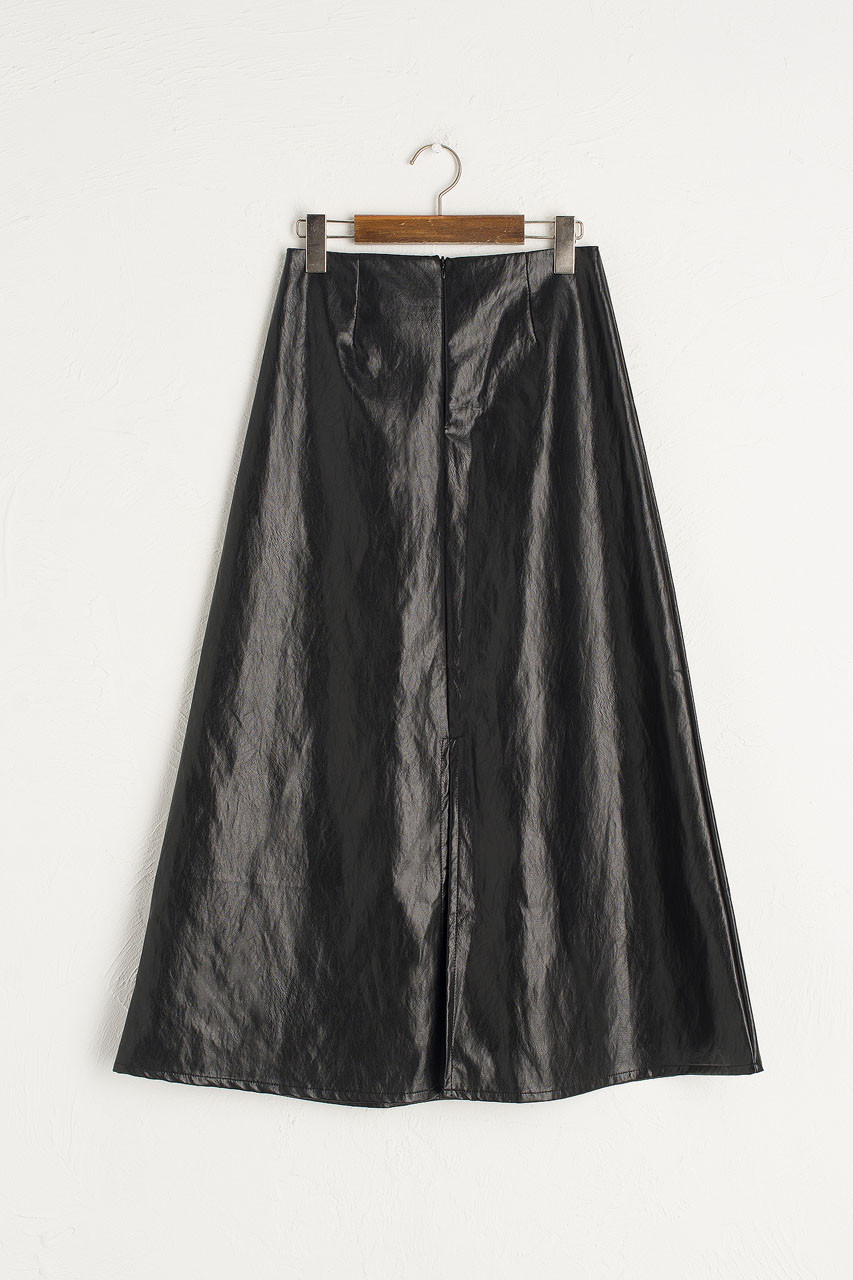 Pleather A Line Skirt, Black