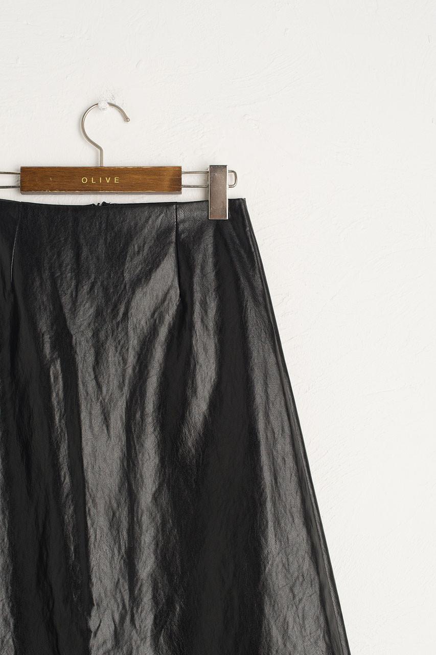 Pleather A Line Skirt, Black