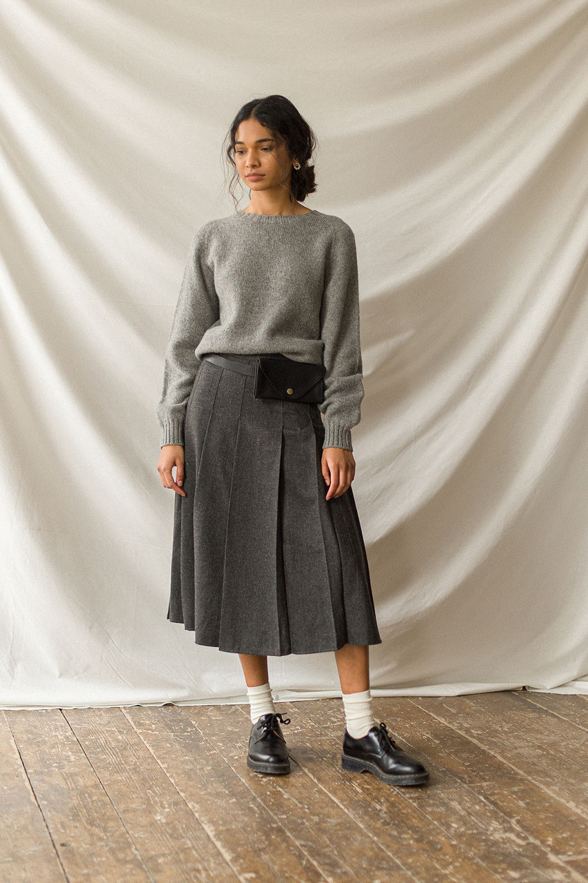 Pleated Wool Skirt, Grey