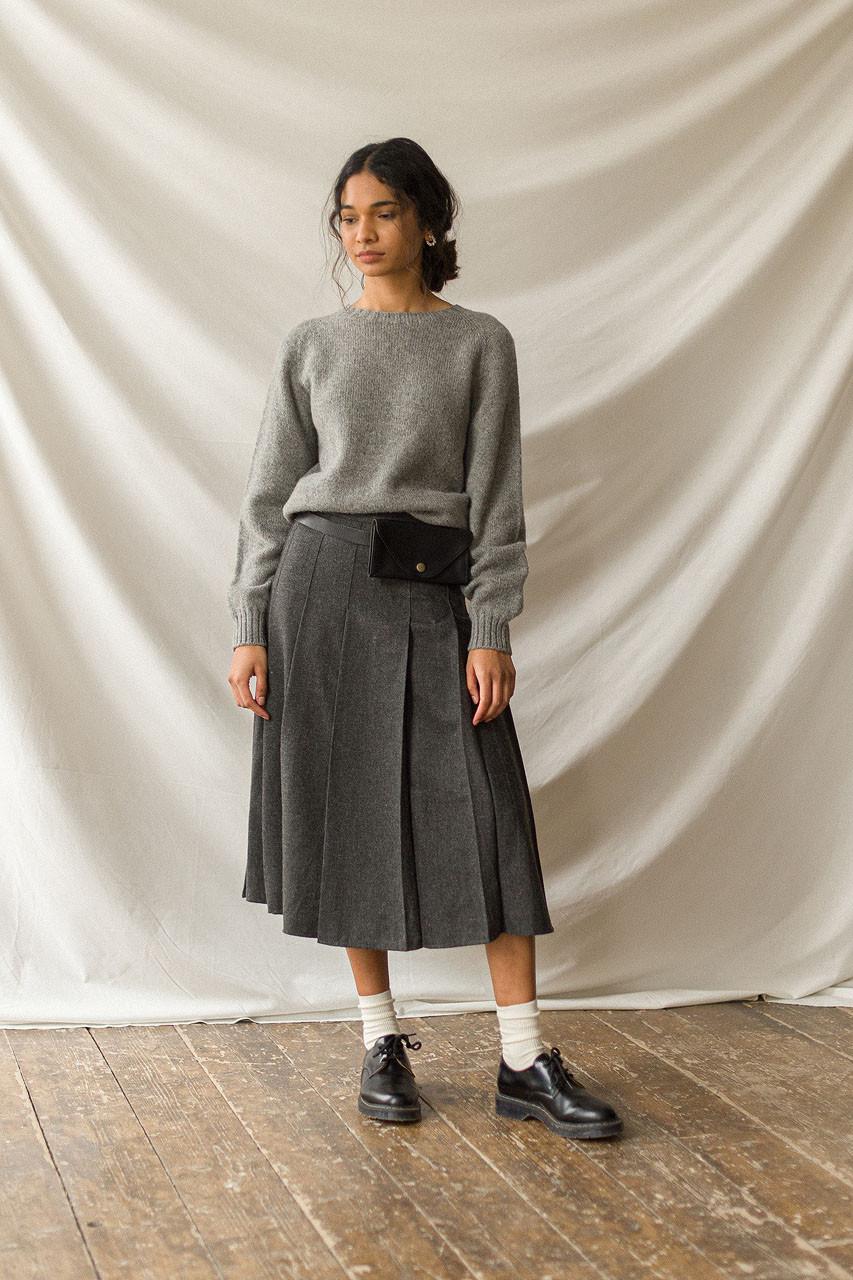 Pleated Wool Skirt, Grey